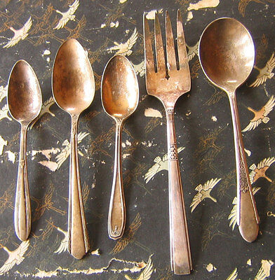 Lot 5 Mixed  WM ROGERS ONEIDA SILVERPLATE MEAT FORK SOUP SP 1881 SPOONS