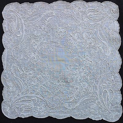 HANDMADE Vtg APPENZELL TYPE EMBROIDERY LACE Wedding Handkerchief Hankie  #1