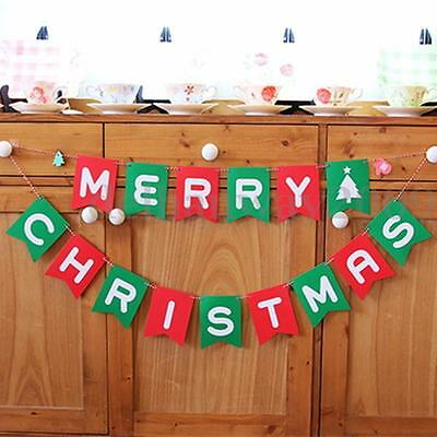 Merry Christmas Festive Flag Paper Bunting Banner Xmas Wall Party Hanging Decor