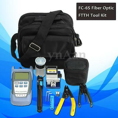13Pcs Kit Fiber FTTH OpticTool FC-6S Cleaver Optical Power Meter Visual Finder