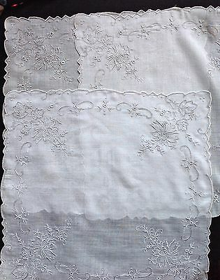 Set - 3 HANDMADE Vtg APPENZELL TYPE EMBROIDERY  Wedding Handkerchief Hankie  #10