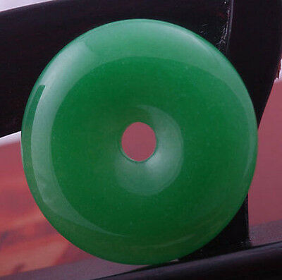 HOO 45mm imperial green stone jade donut circle bead pendant for necklace