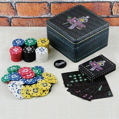 DC Comics The Joker Poker Set Casino Game Chips Cards Dealer Button Official