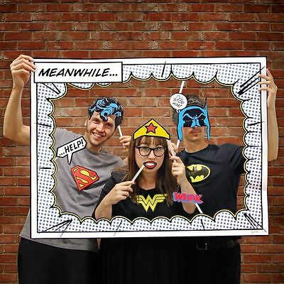 DC Comics Photo Booth Superhero Frame and Props Office Party Weddings Birthdays