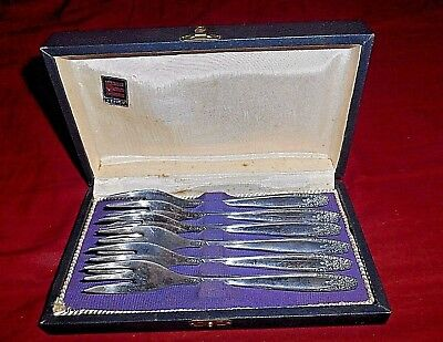 Antique Rare Eberle 90 Brazil Silver Plate 6 Pc. Cocktail Forks Set - With Case