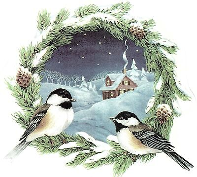 Chickadee Wreath Winter Snow Scene Select-A-Size Waterslide Ceramic Decals Ox