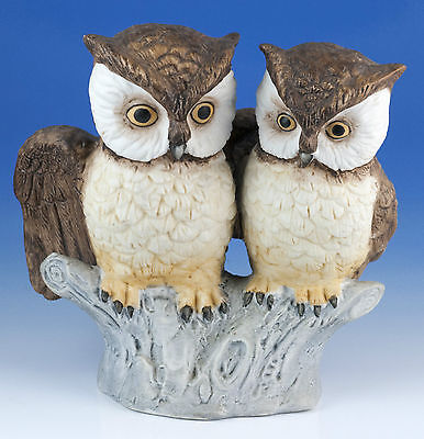 Vintage Porcelain 4 Inch Pair of Owls Figurine Bisque Finish