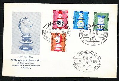 Germany Berlin 1972 FDC cover Mi 435-438 Sc 9NB92-9NB95 Chess pieces