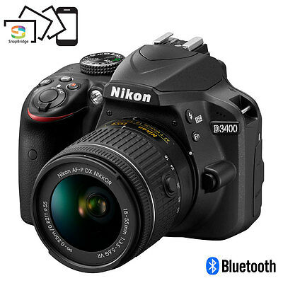 Nikon D3400 24.2 MP DSLR Camera w/ AF-P DX 18-55mm VR Lens Kit (Black)