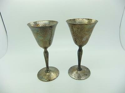 Homan Plate on Nickel Silver WM Mounts Pair of Hammered Goblets Made in USA #015