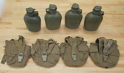 {4} US MILITARY 1 QT CANTEENS : (4) COYOTE BROWN COVERS ~ Used~