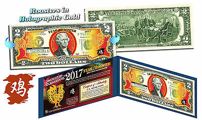 2017 Chinese New Year U.S Genuine $2 Bill YEAR OF THE ROOSTER Gold Hologram Blue