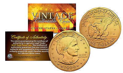 Susan B. Anthony U.S. $1 Dollar Coin Genuine 24K GOLD PLATED with Capsule & COA