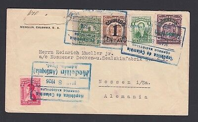 Colombia 1926 Provisional Issue On Cover Medellin To Nossen Germany