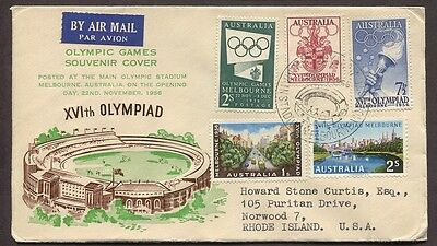 Australia 1956 Cacheted Olympics First Day Cover Melbourne To Rhode Island Usa