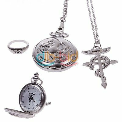 Hot Retro Cosplay Costumes Fullmetal Alchemist Pocket Watch+Necklace+Ring Set CA