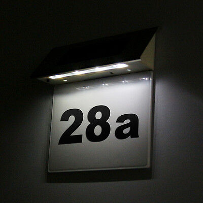 Solar Powered 4 Led Illuminated House Door Number Light Wall Plaque Light Modern