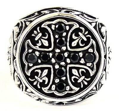 Medieval Knight Templar Black Onyx Cross Sterling 925 Silver Ring