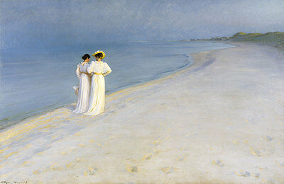 Summer evening on Skagens Beach. Kroyer Anna Ancher Marie Strand Frau B A3 03057