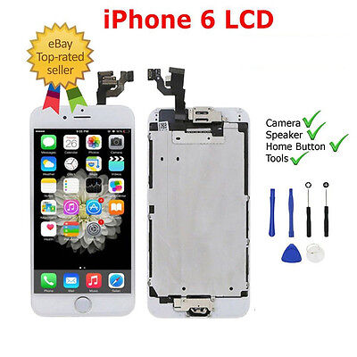 White For iPhone 6 LCD Touch Screen Digitizer Complete with Camera Home Button