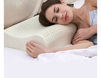 Talalay Natural Latex Foam Pillow Wave Shape Contoured Ventilated White 3 Sizes