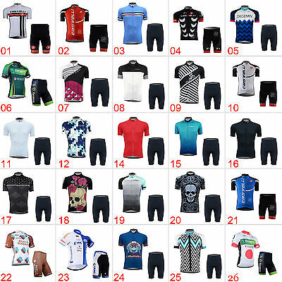 New Fashion Mens Cycling Short Sleeve Bicycle 3 Pockets Jersey Shorts Outfits