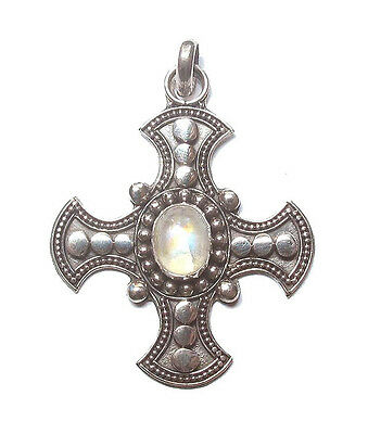 Sterling .925 Silver Celtic Cross Pendant with Moonstone, 41mm