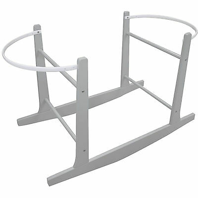 New 4Baby Grey Moses Basket Wooden Rocking Stand