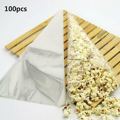 100pcs Clear Cellophane Cone Bag Sweet Candy Flower Packing Birthday Wedding MT