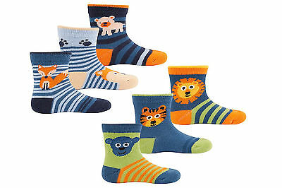 New Childrens baby boys blue 3 pack socks 0-24 months animals fox monkey lion