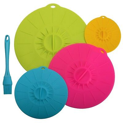 4 Sizes Silicone Food Cover Saucepan Lid Airtight Frying Pan Bowl Covers + Brush
