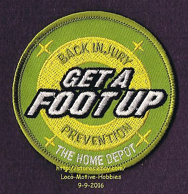 LMH PATCH Badge  HOME DEPOT  Back Injury Prevention  GET A FOOT UP Certified
