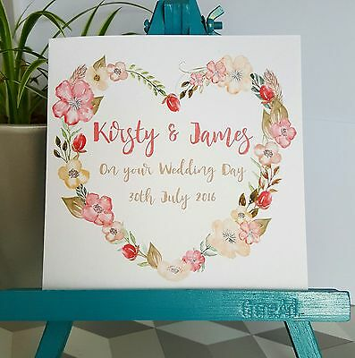 PERSONALISED Handmade Wedding Day Floral Heart Wreath Watercolour Print Card