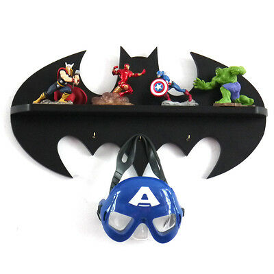 Handmade Wooden Batman logo Wall Display shelf hook bedroom childrens Décor