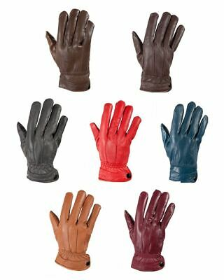 G132 Ladies Seamed Soft Coloured Leather Fleece Lined Winter Warm Driving Gloves