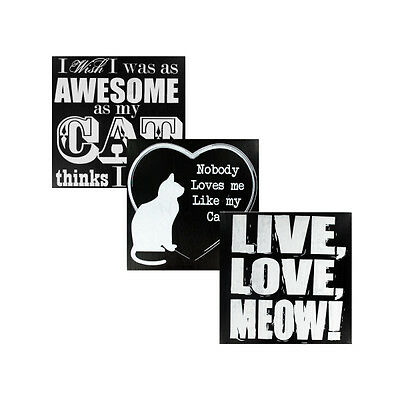 Black & White Wooden Cat Sign 12 Pack