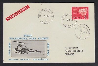 Sweden 1964 Two Bromma Airport Helicopter Flight Postcards Stockholm & Runmaro