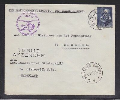 Netherlands 1947 Helicopter Flight Cover The Hague To Brussels Belgium