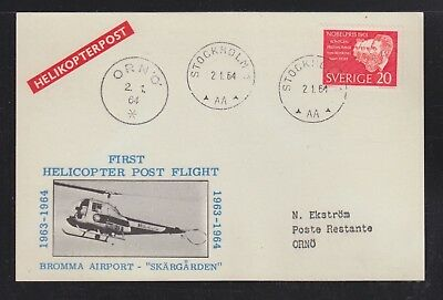 Sweden 1964 Two Bromma Airport Helicopter Flight Postcards Stockholm & Orno