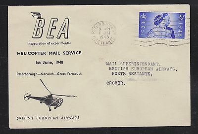 Uk Great Britain 1943 Bea Helicopter Mail Flight Cover Peterborough To Cromer