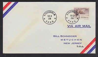 Sweden 1958 Two Helicopter Coil Franking Airmail Covers Stockholm To Usa