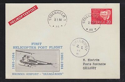 Sweden 1964 Bromma Airport First Helicopter Flight Postcard Stockholm Gallnoby