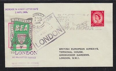 Uk 1964 Bea Helicopter Service European Airways Label Cover London Uk