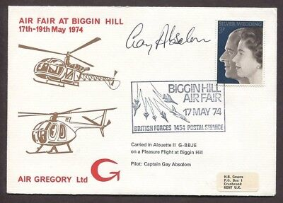 Uk 1974 Gay Absalom Signed Air Gregory Helicopter Cover Biggin Hill Air Fair