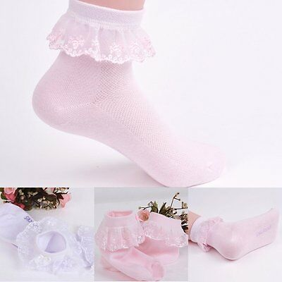 Cute Toddlers Kids Girls Princess Lace Bow Ruffle Frilly Ankle Socks Soft Tights