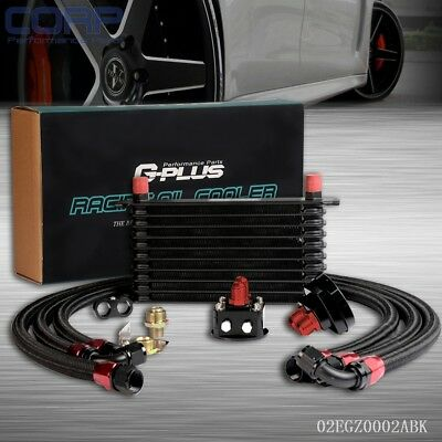 10 Row AN-10AN Universal Engine Transmission Oil Cooler + Filter Relocation Kit