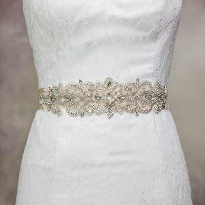Vintage Crystal Rhinestones Wedding Dress Bridal Pearl White Sash Belt Ribbon