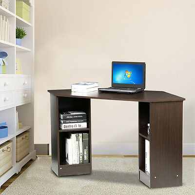 Corner Computer Desk Home Office Furniture Brown Laptop Table Desk Workstation