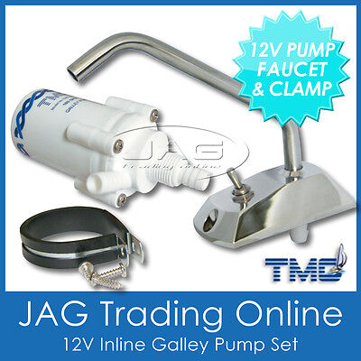 TMC 12V ELECTRIC GALLEY WATER PUMP & FAUCET TAP/CLAMP- Boat/Caravan/Motorhome/RV