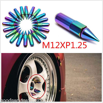 20 Pcs Dazzle Color Spiked Alloy Vehicles Wheel Lug Nut Extended Tuner M12XP1.25
